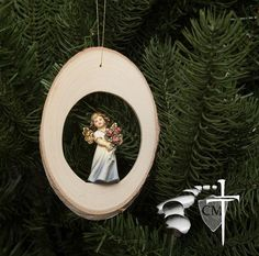 Wood Disc Angel with Roses