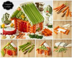 Make a healthy veggie lodge (or non-gingerbread house). You could use cream cheese or a thick hummus for the glue...