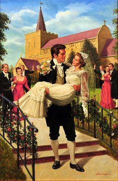 """Robert Berran - """"My Darling Bride"""" - Legend Photo Romance Arte, Art Romantique, Patron Vintage, Romance Novel Covers, Art Students League, Book Cover Art, Historical Romance, Vintage Pictures, Caricatures"""