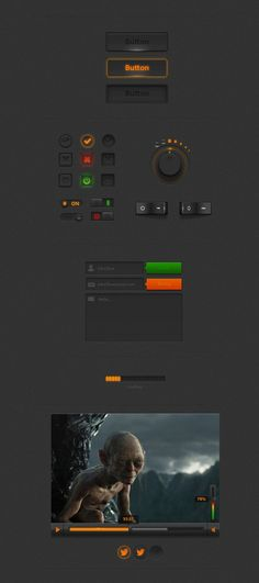 Dark UI Kit, Buttons, Checkbox, Dark, Form, Free, Gray, Knob, Loading, Orange, Player, Progress, PSD, Radio, Resource, Slider, Switch, Toggle, UI, Volume