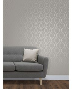 The Apex Geometric Trellis Wallpaper has a contemporary metallic taupe finish which has been set upon a pale grey background. Free UK delivery available