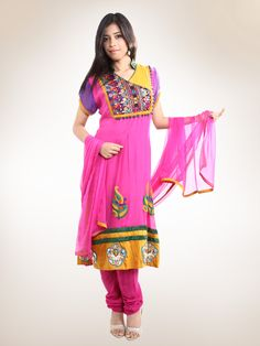 Fuchsia Traditional Embroidered Anarkali Kurta - Buy  Fuchsia Traditional Embroidered Anarkali Kurta Online