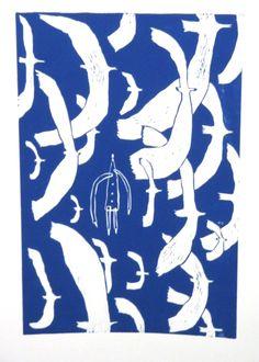 Woodcut Hiromi Sumida  「とりとり」