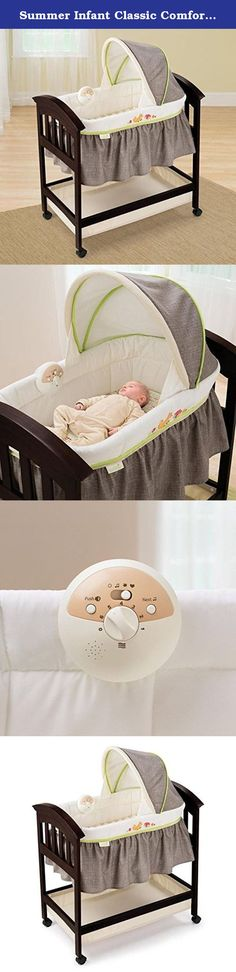 Summer Infant Classic Comfort 26103 Wood Bassinet in Fox and Friends Built-In Sound and Vibration Ability. Keep your baby cozy and satisfied with this beautiful Summer Infant classic wood bassinet. This bassinet features an adjustable canopy to block out light, a padded mattress covered in a fitted and an underneath basket storage. A built in music module includes four calming songs, two peaceful nature songs, a soothing womb sound and light vibration setting to mimic rocking. An espresso...