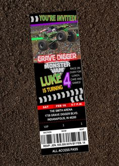 Birthday Monster Jam Grave Digger Ticket Invitation U Print