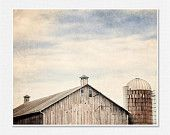 Rustic Barn Photography Barn Landscape Country Decor Nostalgic Grey Brown Peach Blue Silo Cupola Minimalist Dreamy Clouds Sky 8x10.