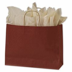 """Red Color on Kraft Shoppers, 16 x 6 x 12 1/2""""  250/ $111.50"""