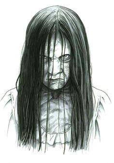 Samara by ByronWinton on DeviantArt Scary Drawings, Dark Art Drawings, Halloween Drawings, Art Drawings Sketches, Halloween Art, Horror Movie Characters, Best Horror Movies, Scary Movies, Samara