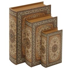 Found it at Joss & Main - 3 Piece Wood and Faux Leather Book Box Set