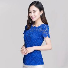 Plus Size Blouses Summer 2017 Top Fashion Elegant Women Lace Blusas Short Sleeve Slim Sexy Shirt Floral Oversized Tops Tee