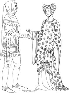 Flemish Noblity Left: shoulder cape hood with liripipe over cote-hardie with matching hem. cote hardie is accessorized with ermine cuffs and jeweled belt. dark stockings and embroidered shoes Right: diaper pattern cote-hardier covering white tunic. silk hennin has braided net (14th C)