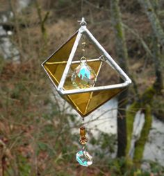 stained glass 3D with crystals and amber glass by ravenglassgirl, $25.00