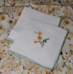 Pair Vintage Embroidered Napkins Bright Cheerful by Farmhouseattic