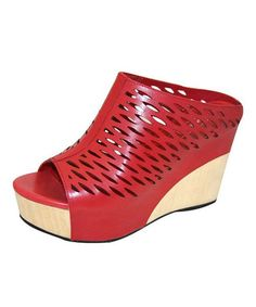 Another great find on #zulily! Red Perforated Leather Wedge Sandal #zulilyfinds