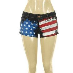 Sexy USA Patriotic Festival American Flag Distressed Denim Short Shorts July 4 #zecchino #Denim