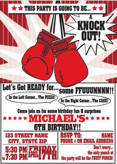 Boxing, KNOCK OUT Theme Birthday, Baby Shower or Gender Reveal invitation by 4evernalways. Explore more products on http://4evernalways.etsy.com