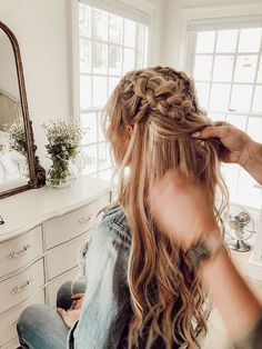 The Wiegands: Double Half Up Braid | Bringing HAIR tutorials back! This was SUCH a fun morning with my sweet friend Lauren ! We decided to do a Double Half up braid and I was completely in love with it! #caseywiegand #braid #hair #hairtutorial #beauty #thewiegands #longhair