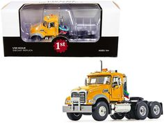 PRODUCT DESCRIPTION Brand new 1/50 scale diecast model of Mack Granite MP Engine Series Truck Tractor Yellow die cast model by First Gear. Brand new box. Detailed chassis. Real rubber tires. Officially licensed product. Has opening hood and doors. Made of diecast with some plastic parts. Detailed interior, exterior, engine compartment. Dimensions approximately L-5.375, W-2.25, H-3 inches. Rubber Tires, Diecast Model Cars, Granite, Tractors, Scale, Engineering, Exterior, Trucks, Plastic