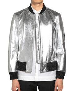 BLINDNESS SILVER LEATHER MA-1 BOMBER JACKET