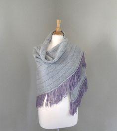Hand Knit Shawl Wrap Soft Warm Wool Silver Gray & by Girlpower