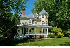 USA Maryland MD Kensington A Victorian era yellow home in the old part ...