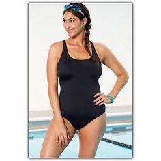 """Black Plus Size Swim Suit Bathing Suit 18 NWT Aquabelle's exclusive polyester spandex fabric is chlorine resistant & colorfast. Spandex adds comfort & stretch to retain fit and resist bagging. Scoopneck Full encircled shelf bra with soft, wire-free molded cups Non-adjustable crossback straps Signature power mesh tummy-control lining Side seam measures 16"""" from Underarm to Hem Fits a D/DD Cup marked as an 18, best fits a 16. Swimsuit runs one size smaller 82% Polyester / 18% Spandex Aquabelle…"""