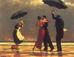 Couple dancing in the rain - one of my favorite pieces of art. This piece hangs over my fireplace.