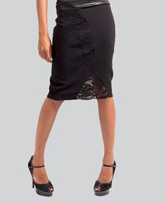 Black pencil skirt with lace insets by JaneClarbour on Etsy, $120.00