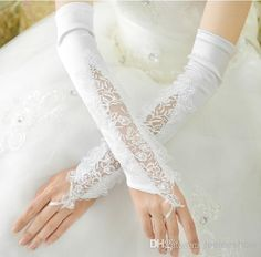 Elegant White 2014 Satin Long Bridal Gloves For Bridal Gloves | Buy Wholesale On Line Direct from China