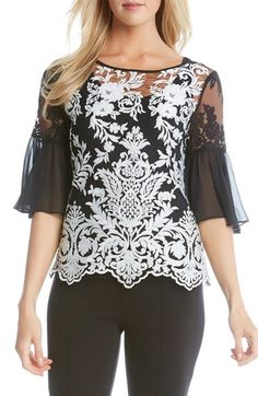 Karen Kane Flare Sleeve Lace Top