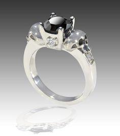 14K Solid White Gold Black & White Diamond Skull Engagement Ring        johnny10rings - Wedding on ArtFire
