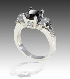 14k solid white gold black white diamond skull engagement ring - Skull Wedding Rings