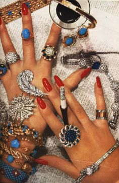 British Vogue 1985.I love this style:ring on every finger)
