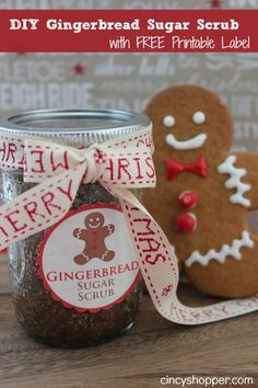 DIY Gingerbread Scrub in a Jar Gift FREE Printable Label- Great Last Minute Gift Idea!