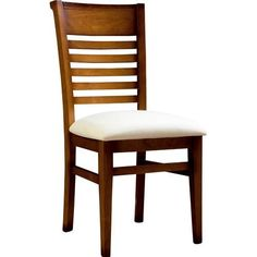Silla de comedor con asiento pretapizado, estructura realizada en madera de Pino macizo.