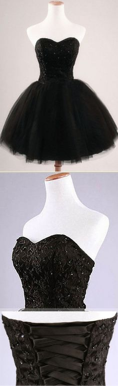Chic Black Lace Homecoming Dresses, Sweetheart Princess Homecoming Dress, Simple Homecoming Dresses with Tulle Skirt and Sparkle Sequins, #020102554
