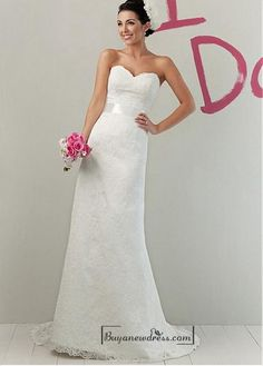 Beautiful Lace & Satin Sheath Sweetheart Raised Waist Wedding Dress - Buyanewdress.com