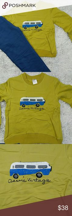Mustard Yellow Vintage Car 2 pc set.  Kids Adorable and comfortable 2 pc set of sweatpants and sweatshirt with a vintage car design.  Have pockets Pull up style  This item is brand new and never used.?? with tags. Matching Sets