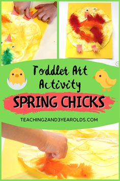 These cute chicks are a fun spring activity that will also strengthen fine motor skills. Toddlers and preschoolers will love squeezing watercolors onto paper and then covering them with feathers and all the little details! It's all about the process, but the end result is pretty cute, too. #spring #springcraft #chicks #finemotor #art #toddlers #preschool #toddlerspring #preschoolactivity #AGE2 #AGE3 #AGE4 #teaching2and3yearolds Preschool Art Activities, Spring Activities, Preschool Activities, Toddler Art, Toddler Preschool, Mother And Baby Animals, Lesson Plans For Toddlers, Spring Animals, Spring Books