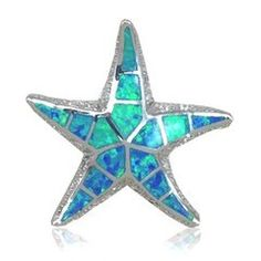 925 Sterling Silver Simulated Blue Opal Starfish Slide