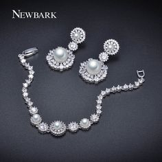 NEWBARK Simulated Pearl Wedding Jewelry Set Austrian Crystal 1 PCS Bracelet 1 Pair Earings Jewelry Party Beads Bridal Set //Price: $US $18.69 & FREE Shipping //                                                                             #earrings