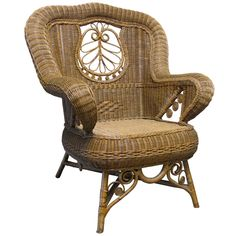 French Wicker Wing Chair. France. ca. 1880s