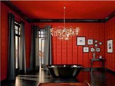 Gothic Home Decor with Red and Black Color  Would work so well as the colors for an office....