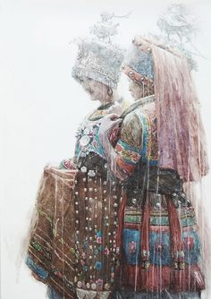 """Dongfeng Li, """"Girls on a Date (1st Place),"""" 2016, watercolor (c) Missouri Watercolor Society 2016"""