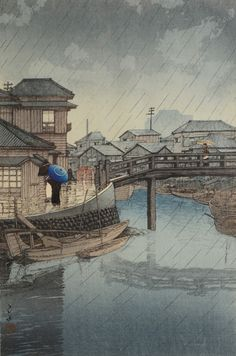 HASUI WOODBLOCK RAIN AT SHINAGAWA