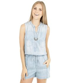 Macaquinho Jeans Azul Claro - cea