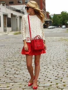 Lace Top, Red Skirt, and Red Flats: Preppy College Glam