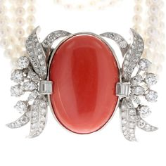 """Antique carnelian and diamond necklace set on pearls """"Gorgeous color.""""-Katrina Westall"""