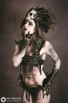 This stunning photo is by Phil Vidamour Photography Model:Harley Rose MUA: Nvy Designs MUA Headdress: Hysteria Machine