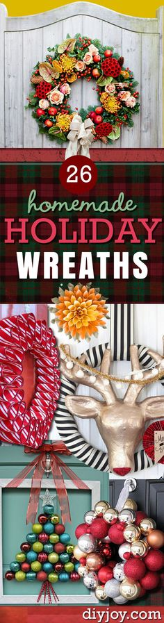 DIY Holiday Wreath Pinterest - Homemade Christmas Decorations for the Holidays - Outdoor Ideas for Your Door and Indoor Ideas for Your Mantle and Home - DIY Christmas Crafts and Projects at DIY JOY http://diyjoy.com/diy-christmas-decorations-wreaths